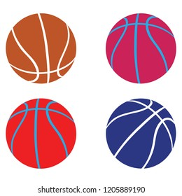 Basketball vector set in variety of colors