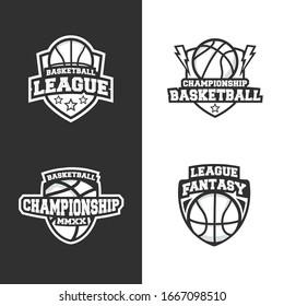 Basketball vintage logo templates isolated on white and black background. 4 Retro sports logo designs. Vector illustration
