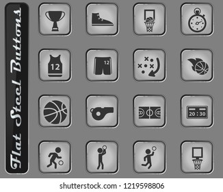 Basketball web icons on the flat steel buttons