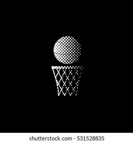 basketball - white vector icon;  halftone illustration
