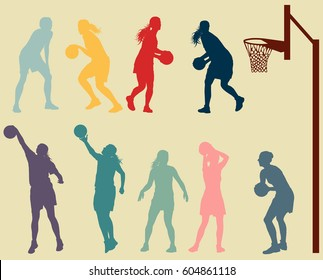 Basketball woman player in action vector background set