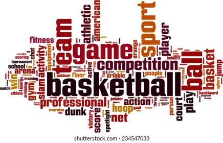 Basketball word cloud concept. Vector illustration