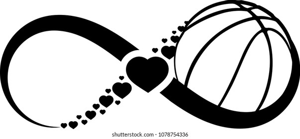 Basketball wrapped in an infinity symbol with hearts through the middle of the infinity symbol.