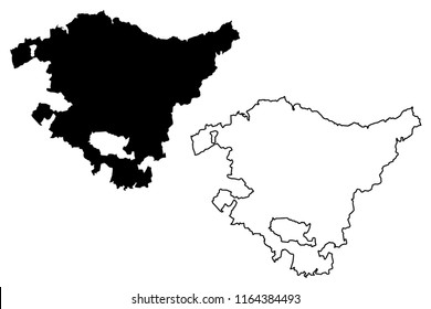 basque country map images stock photos vectors shutterstock Blank Map of Spain and Portugal basque country kingdom of spain autonomous munity map vector illustration scribble sketch