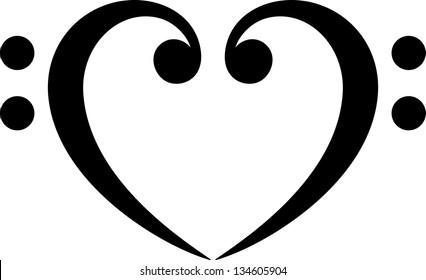 Bass clef, heart, music, classic - vector