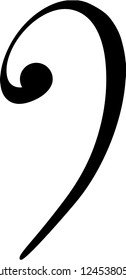 Bass clef symbol vector illustration in black and white