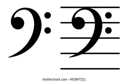 bass clef(F clef) / Simple and basic musical symbol.