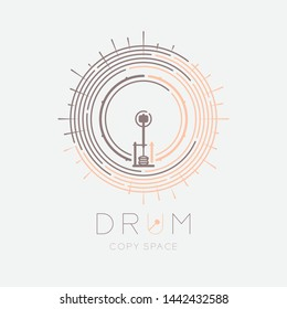 Bass drum, pedal with line staff circle shape logo icon outline stroke set dash line design illustration isolated on grey background with drum text and copy space