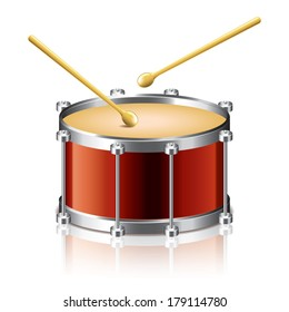 Bass drum vector isolated on white photo-realistic vector illustration