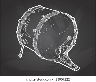 Bass drums sketch drawing isolated on chalkboard background. Hand drawing vector illustration . Drum doodle vector