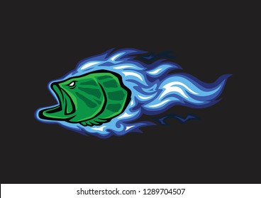 bass fish fire icons