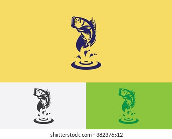 Bass fish flat logo vector
