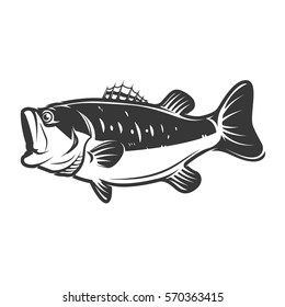 bass fish icons isolated on white background. Design element for logo, label, emblem, sign, brand mark. Vector illustration.