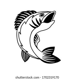 Bass Fish logo template. Animal hand drawn silhouette isolated on white background. Vector logotype