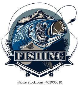 Bass fish. Perch fishing vector illustration. Bass fishing vector illustration can be used for original design.