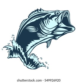 Bass fish. Perch fishing vector illustration.