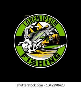Bass fish vector emblem logo for fishing and hunting club