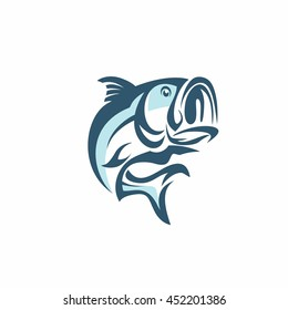 Bass Fish Vector On A White Background. Bass Fish Vector