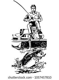 Bass Fisherman In Boat - Retro Clip Art Illustration