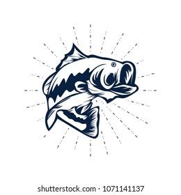 Bass Fishing Logo Design Vector Illustration