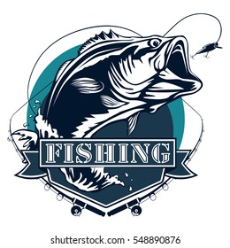 Bass fishing logo isolated on white vector illustration