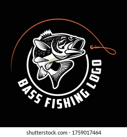 Bass Fishing Logo. Unique and Fresh Bass jumping out of the water. great for your bass fishing activity.