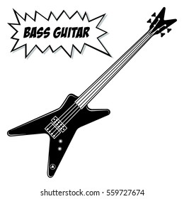 Bass guitar 4 strings. Vector black and white illustration.