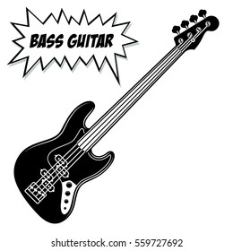 Bass guitar 4 strings. Vector black and white illustration.