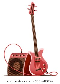 Bass guitar with amplifier for stage guitarist. Musical instrument for rock guitar player, Isolated on white background. Eps10 vector illustration.