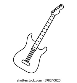 Bass guitar icon. Line illustration of bass guitar vector icon logo isolated on white background