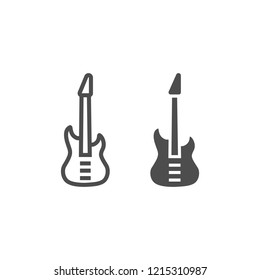 Bass guitar line and glyph icon, music and string, instrument sign, vector graphics, a linear pattern on a white background, eps 10.