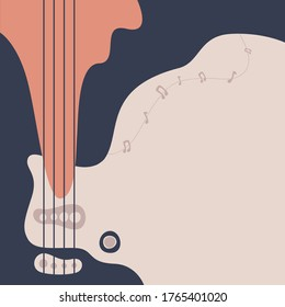 Bass guitar neck background with abstract design. Abstract guitar banner design series. Vector illustration
