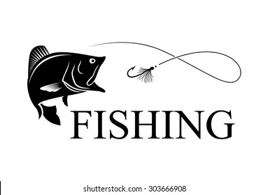 Bass and hook with text FISHING, fly fishing