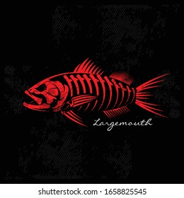 Bass Logo, A Masculine Skeleton of Largemouth bass Fish. Great for Tattos & Decal of your Boat or Trucks :) A Full Quality Vector would be Great.