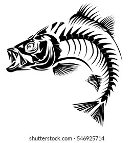 Bass skeleth isolated on white. Perch fish black logo.