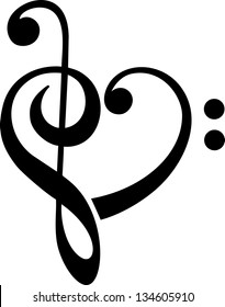 Bass and treble clef, heart, music, classic - vector