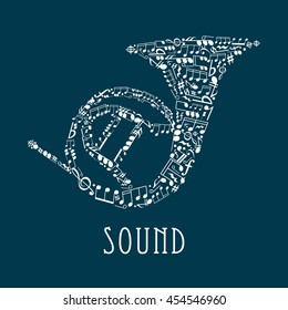 Bass and treble clefs and notes in random scattered pattern united in shape of brass french horn with letters alongside