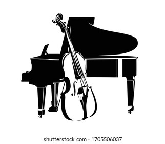 bass viol and grand piano instruments - jazz music duet concert black and white vector design