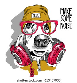 Basset Hound dog in a red glasses, yellow hipster hat and with a headphones on the neck. Vector illustration.