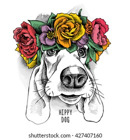 Basset Hound hippie Portrait in a floral head wreath. Vector illustration.
