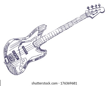 Bass-guitar sketch drawing isolated on white background