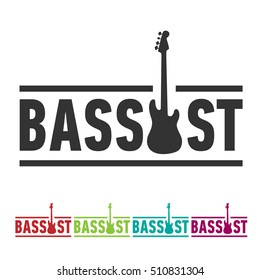 Bassist sticker sign with bass guitar silhouette