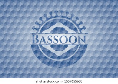 Bassoon blue emblem or badge with geometric pattern background. Vector Illustration. Detailed.