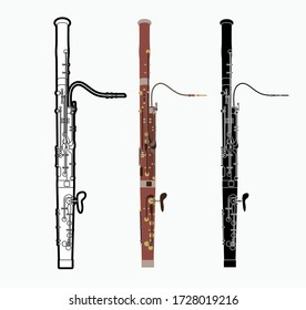Bassoon instrument cartoon music graphic vector