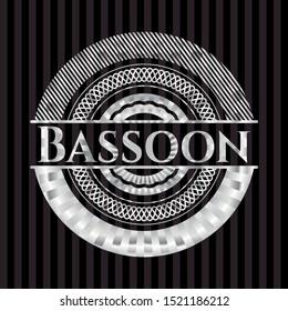 Bassoon silvery shiny badge. Vector Illustration. Mosaic.