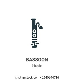 Bassoon vector icon on white background. Flat vector bassoon icon symbol sign from modern music collection for mobile concept and web apps design.