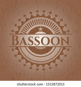 Bassoon vintage wood emblem. Vector Illustration.