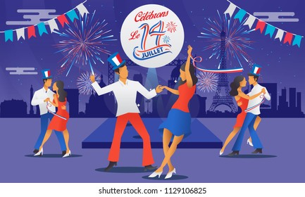 Bastile day greeting card with dance, parties and firework. Le 14 Juillet French translation of 14 July French national Day