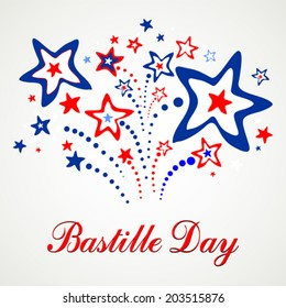 Bastille Day. Celebration background with firework and place for your text. vector illustration