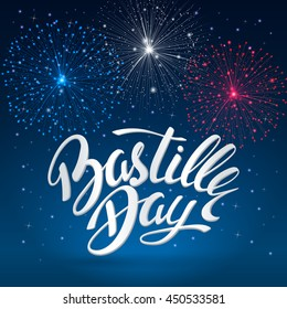 Bastille day celebration background with the tricolor fireworks and lettering. A template background for greeting cards and posters for July 14th. File contains clipping mask.